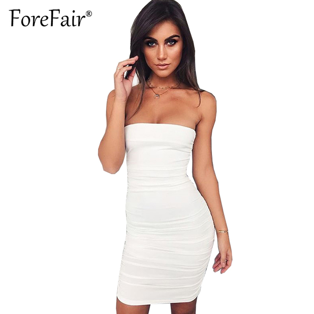 60befe198c7 Forefair 2017 Sexy Ruched Strapless Dress For Women Night Club Bodycon Dress  Black White Sleeveless Backless
