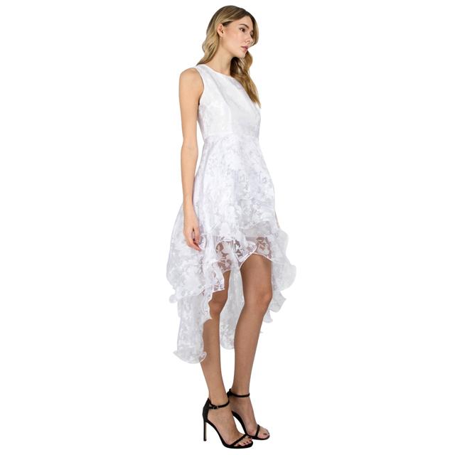 Women O-Neck Sleeveless Sweet Ball Gown White Organza Evening Party Long Dress