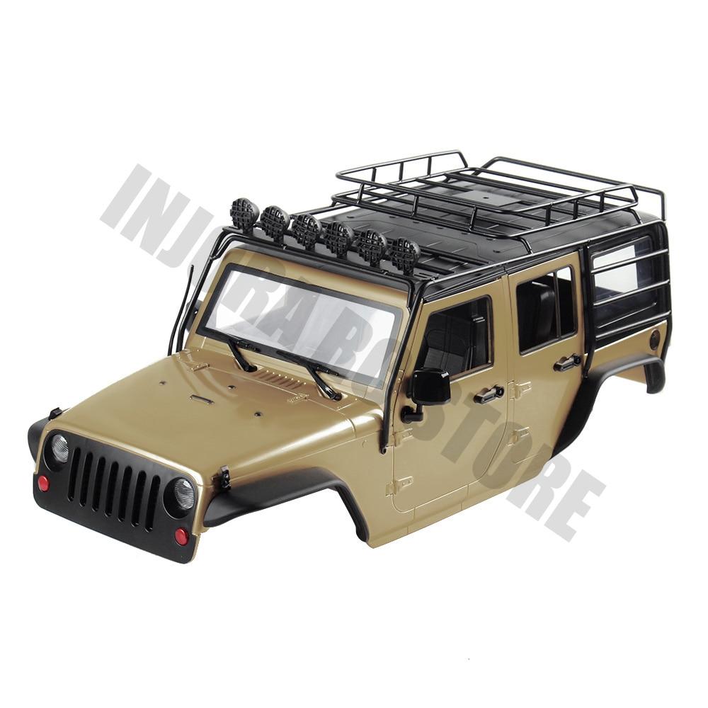 7 INJORA Cor Disponível 313 milímetros de Distância Entre Eixos Corpo Shell + Roll Cage para 1/10 RC Crawler Jeep Wrangler Axial SCX10 SCX10 II 90046