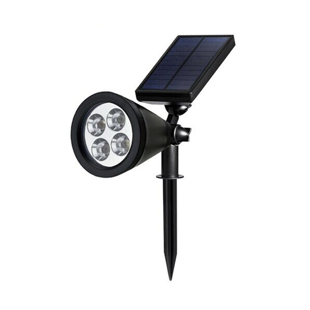 4PCS Solar Powered LED garden lamp Security Spot Light warm white Waterproof Outdoor home Decoratation spotlight free shipping