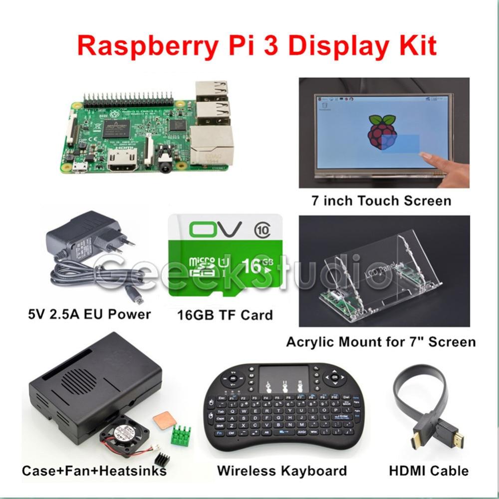 Original Raspberry Pi 3 16GB Starter Display Kit with 7 inch 1024*600 Touch Screen + 5V 2.5A EU/US/UK/AU Power Supply raspberry pi 3 model b 16gb retropie game console kit with 2pcs snes gamepads with 5v 2 5a optional eu us uk au power supply