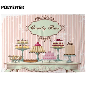 Image 3 - Allenjoy backdrop for photographic studio vintage fashion table different cakes Flesh pink stripe background candy bar photocall