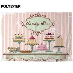 Image 3 - 사진 스튜디오에 대 한 allenjoy 배경 빈티지 패션 테이블 다른 케이크 육체 핑크 스트라이프 배경 캔디 바 photocall
