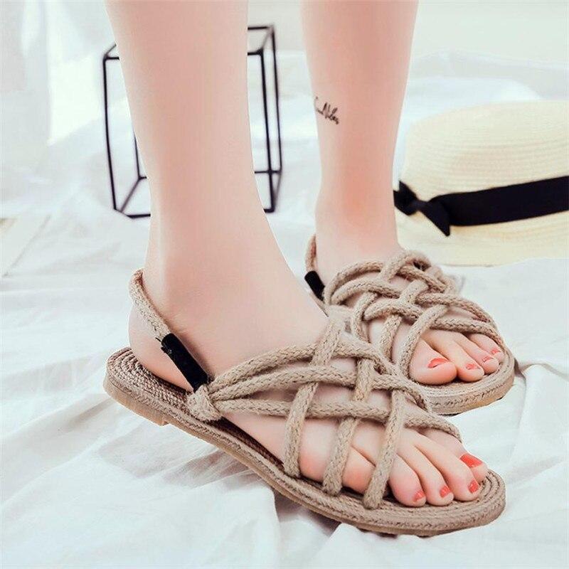 Systematisch Frauen Sommer Schuhe Sandalen Damen Retro Handgemachte Cane Hanf Knitting Schuhe Strand Gras Sandalen Zapatos Mujer Chaussures Femme Frauen Schuhe Frauen Sandalen
