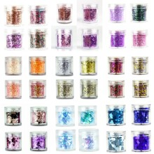 4 boxes/Set Chunky Nail Glitter Powder 23 Colors Mix Hexagon Glitter Dust Sequins Sparkling Chunky For Body Face Tattoo 10ml/box