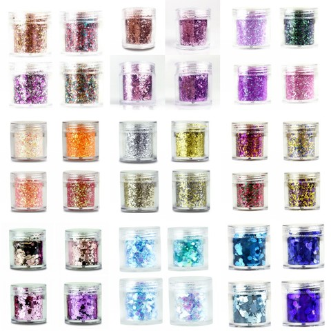 4 boxes/Set Chunky Nail Glitter Powder 23 Colors Mix Hexagon Glitter Dust Sequins Sparkling Chunky For Body Face Tattoo 10ml/box Pakistan