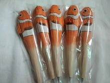 10pcs/lot Promotional Hot sale high quality wood craft animal ballpoint pen handmade carved colored gift