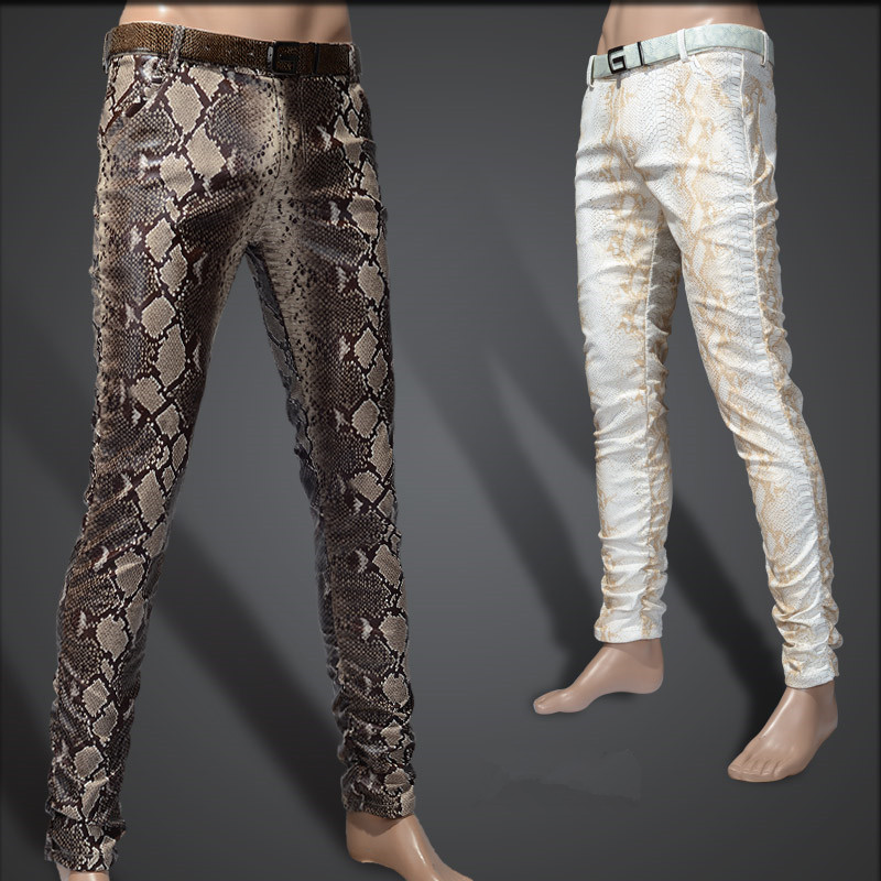 2019 Fashion Men Slim Faux Python Snake Print Leather Pants Men's Personality PU Leather Trousers Chandal Male High Quality