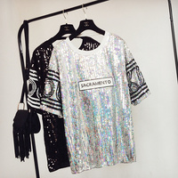 Plus Size Women 2018 Summer dress Fashion Shiny Star Sequined Short Sleeve Loose Casual Tee Shirt Dress black sliver