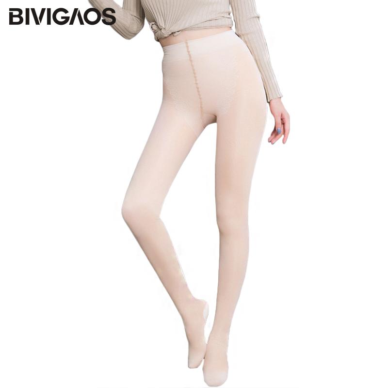 BIVIGAOS Fall Winter Womens New Bare Leg   Leggings   False Transparent Classic Velvet Double-layered Sexy Skinny Legs Warm   Leggings