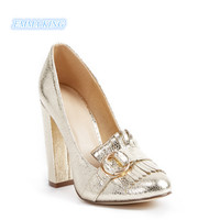 Spring 2019 Gold Heeled Loafer Style Pump Women Pointed Toe Chunky Heels Elegant Ladies Shoes Shallow Woman Metal Buckle Pumps