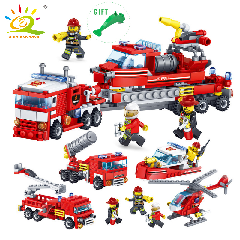 HUIQIBAO TOYS 4 in 1 City Firefighting Building Blocks DIY Fire Truck Helicopter Boat Compatible Legoed City Firefighter Bricks
