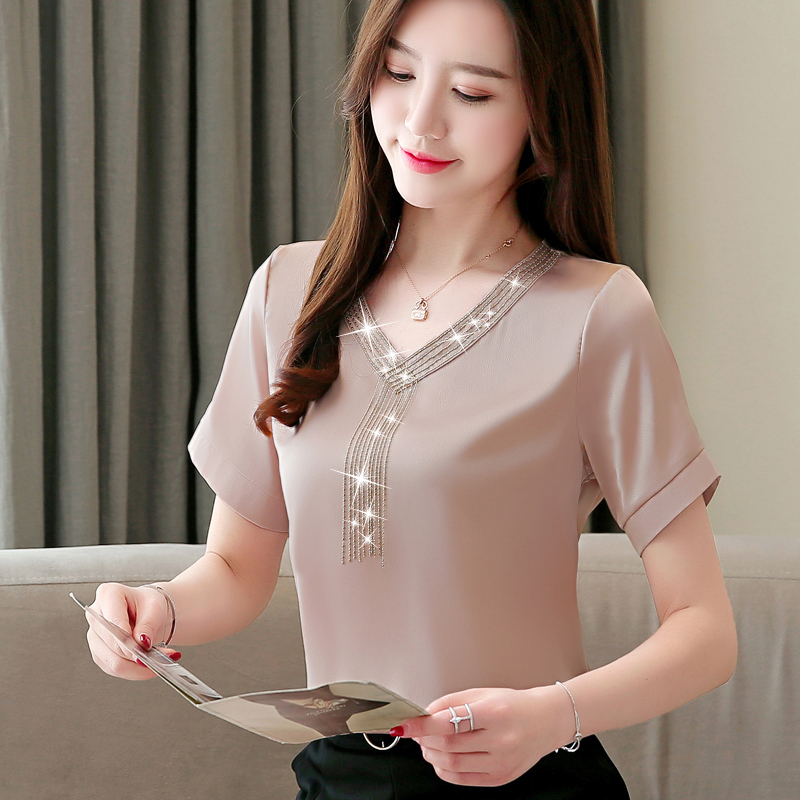 Dingaozlz 3XL Elegant Women Tops Solid color Tassel Plus size Chiffon shirt Short sleeve Summer blouse New fashion clothing in Blouses amp Shirts from Women 39 s Clothing