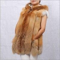 Wholesale Price Ladies Winter Red Fox Fur Vest Real Natural Fur Waistcoat Gilet With Hood