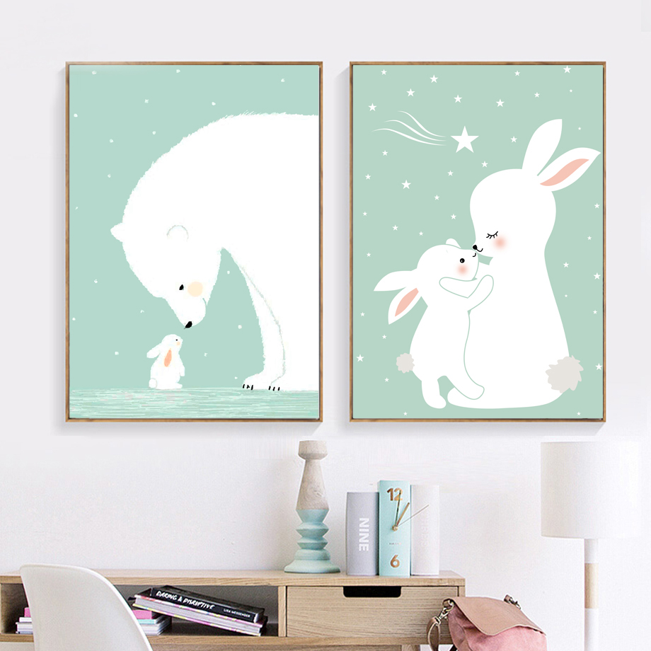 COLORFULBOY Polar Bear Rabbit Кенепте кескіндеме Минимализм Wall Art Print Нордалық плакат Wallpapers Балалар бөлмесі декор