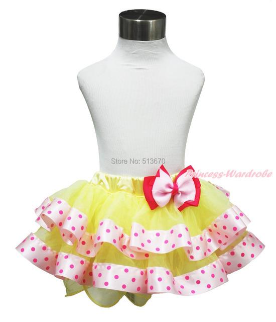 Pascua Amarillo Hot Pink Dots Satén Ajustado Bebé del Tutú 1-8Y Pettiskirt & Bow MADRE0024