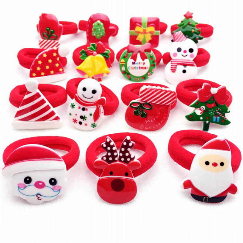 2PCS/ Pairs Of Fashion Girls Lovely  Popular Christmas Hair Strings Snowman  Children's Elastic Hair Adornment 2