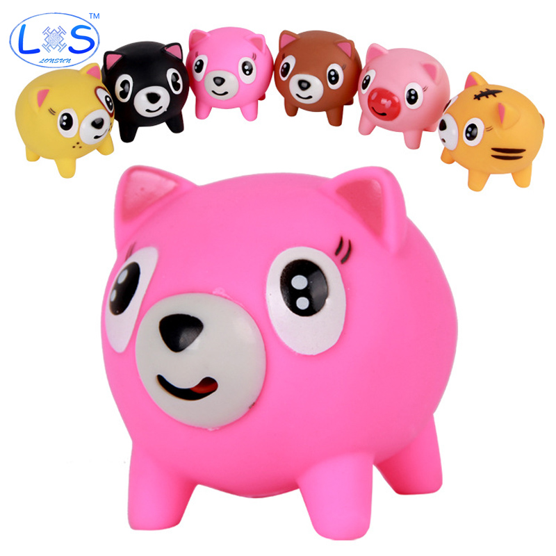 (LONSUN)Screams Tongue Doll Rubber Pink Pig Toys Tricky Vent Style for Office Worker Anti Stress Toys Random Colors