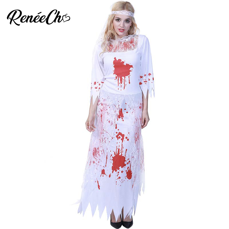 Halloween Costume For Women Ghost Bride Costume White Bloody Lace Long Dress Adult Costume Lady Scary Vampire Zombie Cosplay