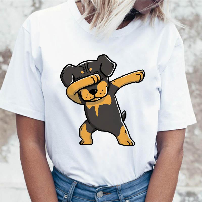 Rottweiler T Shirt Funny Clothing Harajuku For Women Korean Female Tshirt Top Ulzzang Tees T-shirt Graphic
