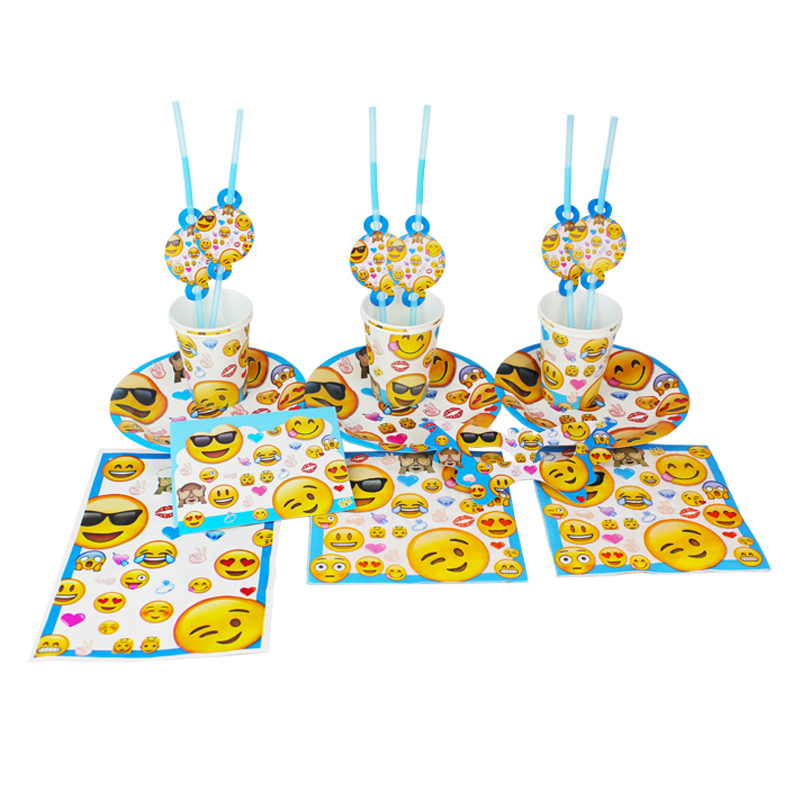 92pcs Smiley Face Expression Baby Birthday Party Decorations Kids Evnent Party Supplies Party Decoration