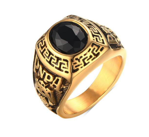 clearance sale plated gold stainless steel ring band large black zircon stone 8 12 - Clearance Wedding Rings