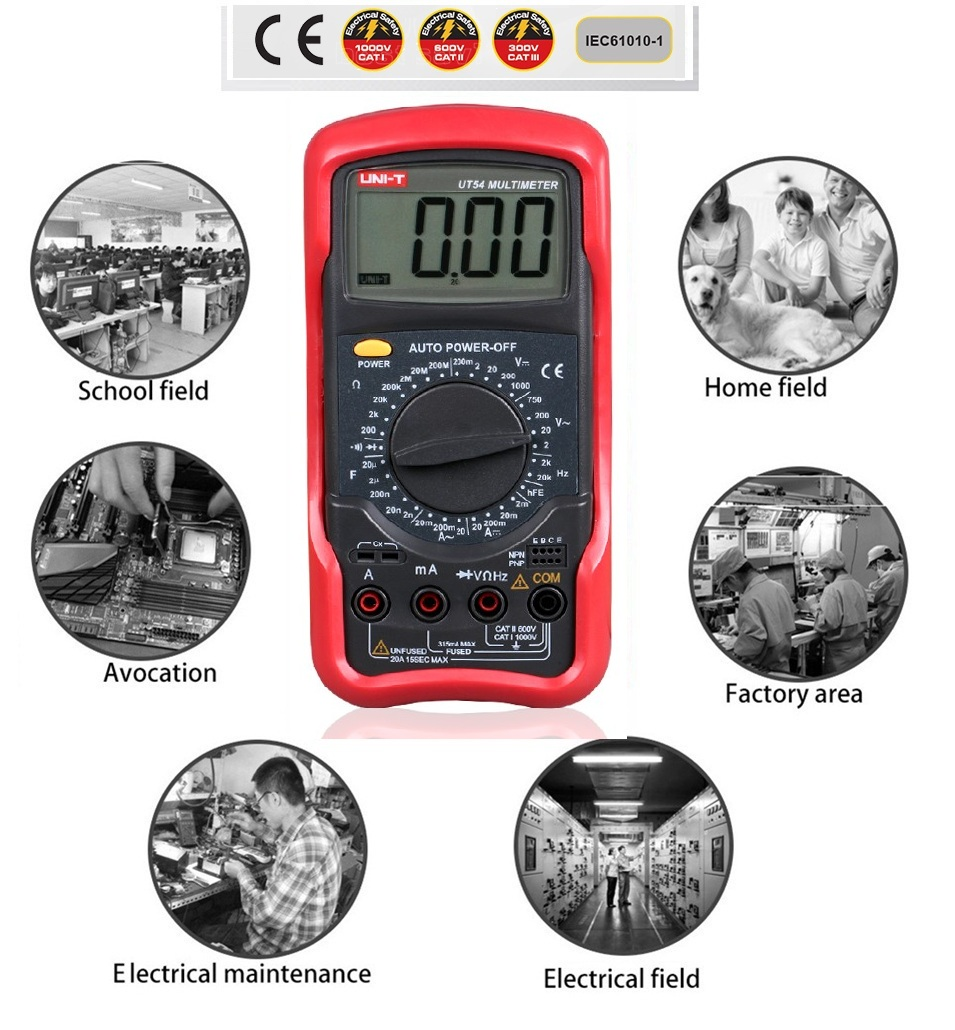 UNI-T 3 1/2 digits Digital Multimeter UT54 Capacitance Frequency Resistance Measurement Full ranges Overload Protection  цены