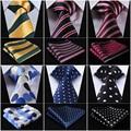 "Pocket Square Classic Party Wedding Dot Striped 3.4"" Silk Fashion Wedding Mens Extra Long Tie XL Necktie Handkerchief Set #Q7"