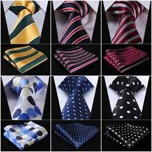 """Pocket Square Classic Wedding Party Dot Rayas 3.4 """"Moda Para Hombre de la Boda de seda Extra Long Tie XL Corbata Pañuelo Set # Q7"""