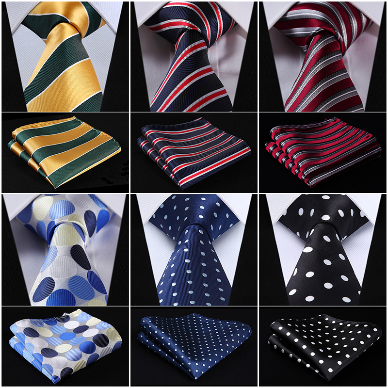 Pocket Square Classic Party Wedding Dot Striped 3.4 Silk Fashion Wedding Mens Extra Long Tie XL Necktie Handkerchief Set #Q7