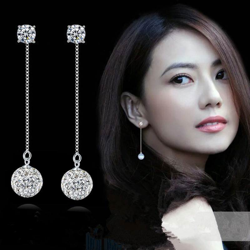 TJP Trendy 925 Sterling Silver Drop Earrings For Girl Bride Wedding Jewelry Fashion Girl Crystal Ball Long Earring Accessories
