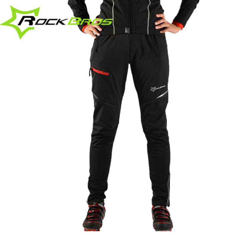 ROCKBROS Men Women Winter Cycling Pants Fleece Thermal Road Bike Pants Male Reflective Bicycle Sport Mtb Downhill Pants Male rockbros titanium ti pedal spindle axle quick release for brompton folding bike bicycle bike parts