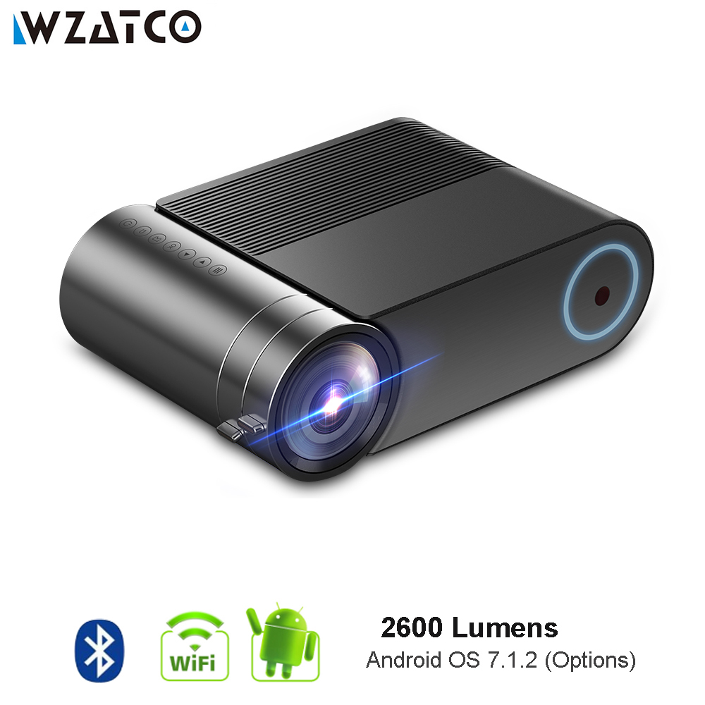 WZATCO Android 7.1 en option 720 p HD LED Mini projecteur Bluetooth HD Portable HDMI USB 1080 p WIFI projecteur Home cinéma Proyector