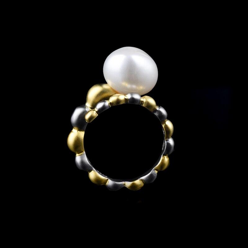 Nouvelle conception créative perle baroque naturelle incrustée manuelle bague en argent S925