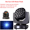 Светодиодный луч + мыть 19x15 Вт RGBW 4IN1 глаза пчел светодиодный движущихся головного света с отличными программами 21/35/135/169CH Каналы диско ди-Дже...