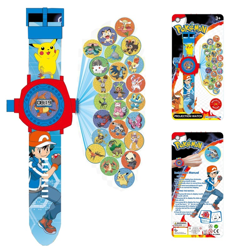 New 24 images Pikachu Projection cartoon Electronic watch Children LED Digital Projection Wristwatches For kids font