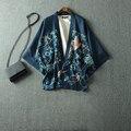 Стиль Harajuku японский стиль хаори печать короткое кимоно юката топ тонкий обертывание летом стиль