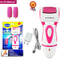KIMISKY Red Rechargeable FOOT CARE TOOL Foot file Callous PEDICURE Electric Callus Remover Scholls foot file +2 Roller Heads Box