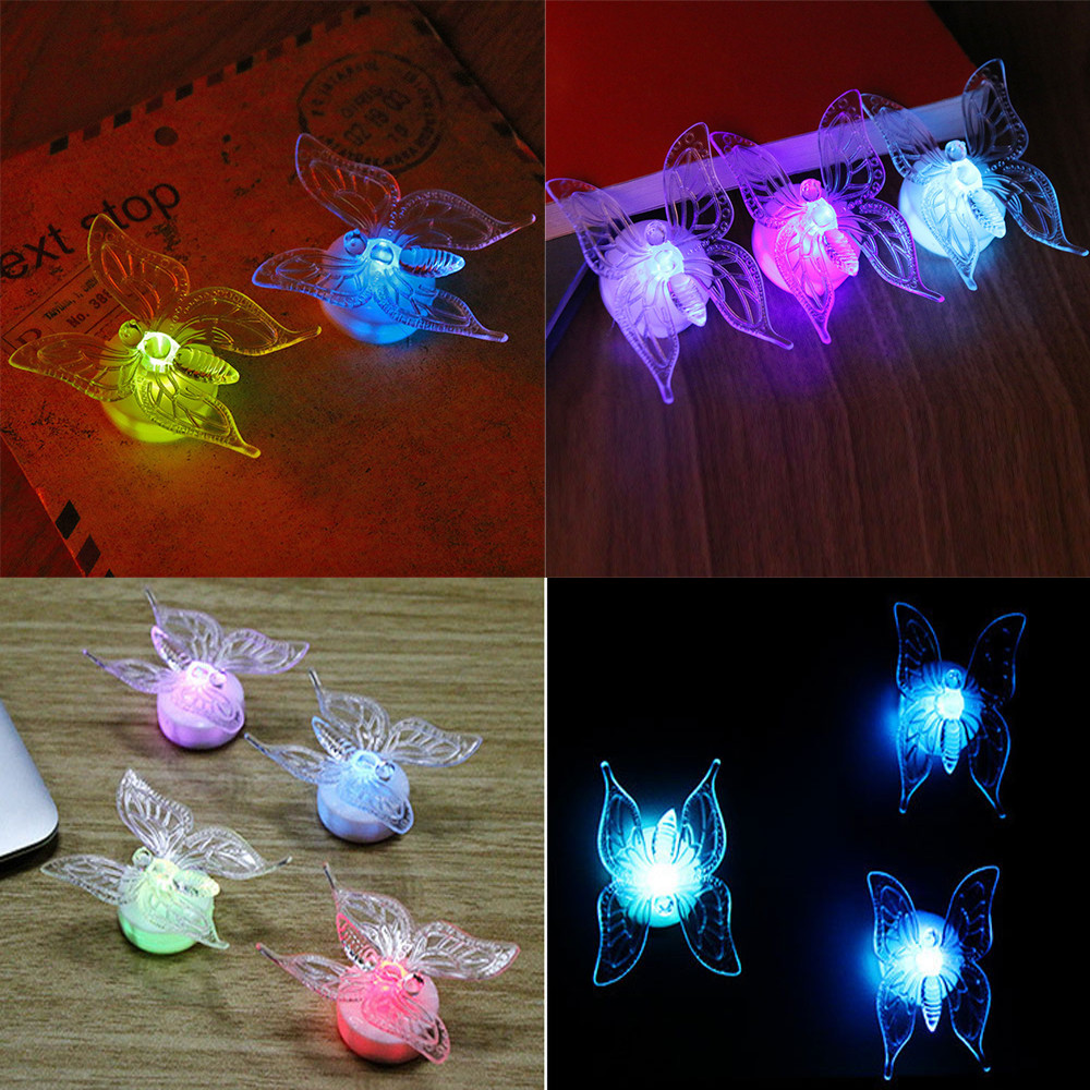 5 Pcs Wall Stickers Acrylic Butterfly LED Lights Wall Stickers 3D House Decor