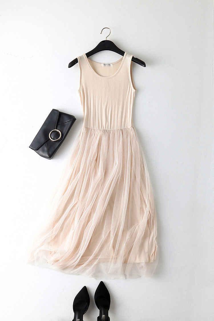 2018 nueva moda casual mujeres Primavera Verano sin mangas Patchwork malla fiesta vestido gasa tanque tul vestido de color sólido Sundress