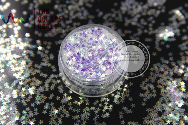 TCR6321A Blanco con luz azul colores shinning glitter Stars formas 2.5 MM tamaño increíble brilla para el Arte de Uñas y BRICOLAJE suministros