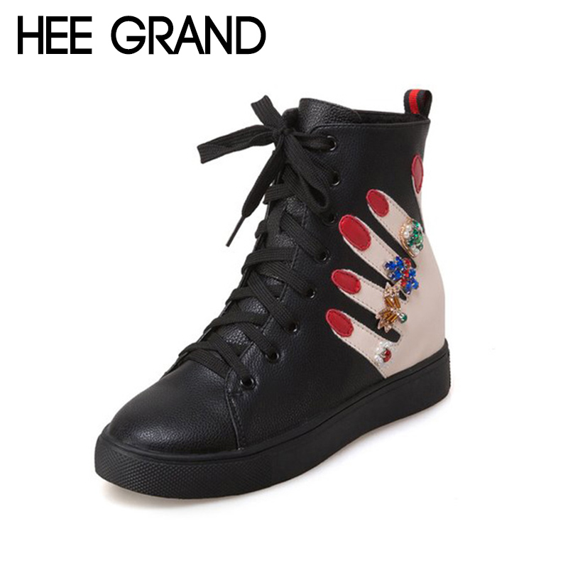 купить HEE GRAND 2018 New Women Fashion Boots with Rivet Winter Shoes Pattern Lace-up PU Leather Ankle Boots Mujer Shoes XWX6861 по цене 849.58 рублей