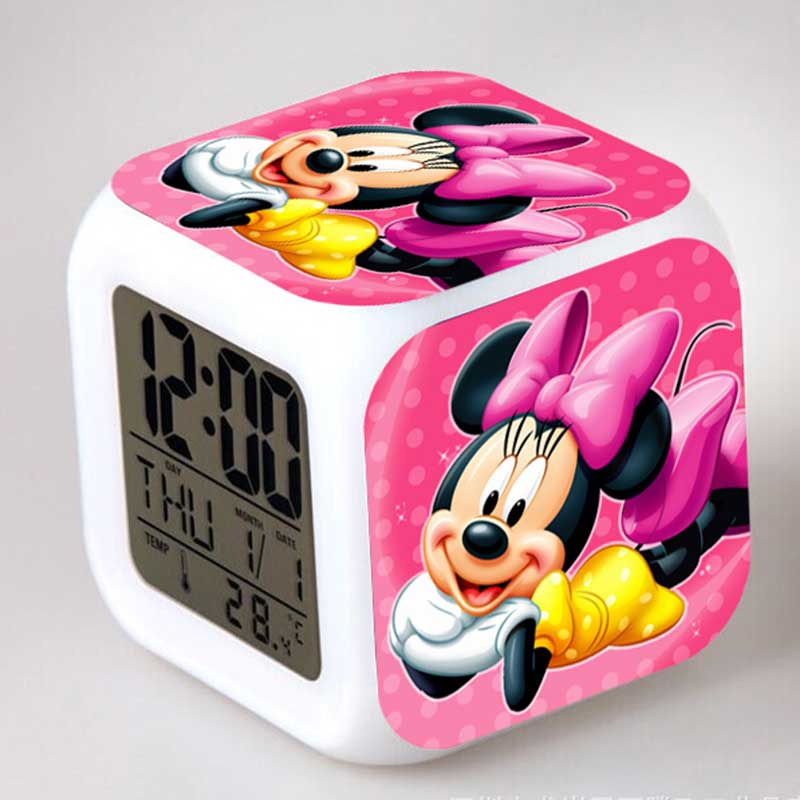 Luminous Minnie Mickey Mouse Anime Figures Alarm CLock LED Colorful Touch Light Mekey Family Figurines Kids Toy Party Gift