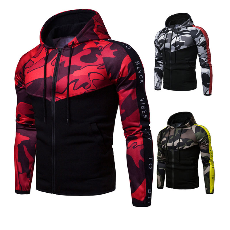 Mens Camouflage Military Hooded Sweatshirt Colorblock Fashion Silm With Zipper Pullover Male Hoodies Tops Plus Size Spring 2019