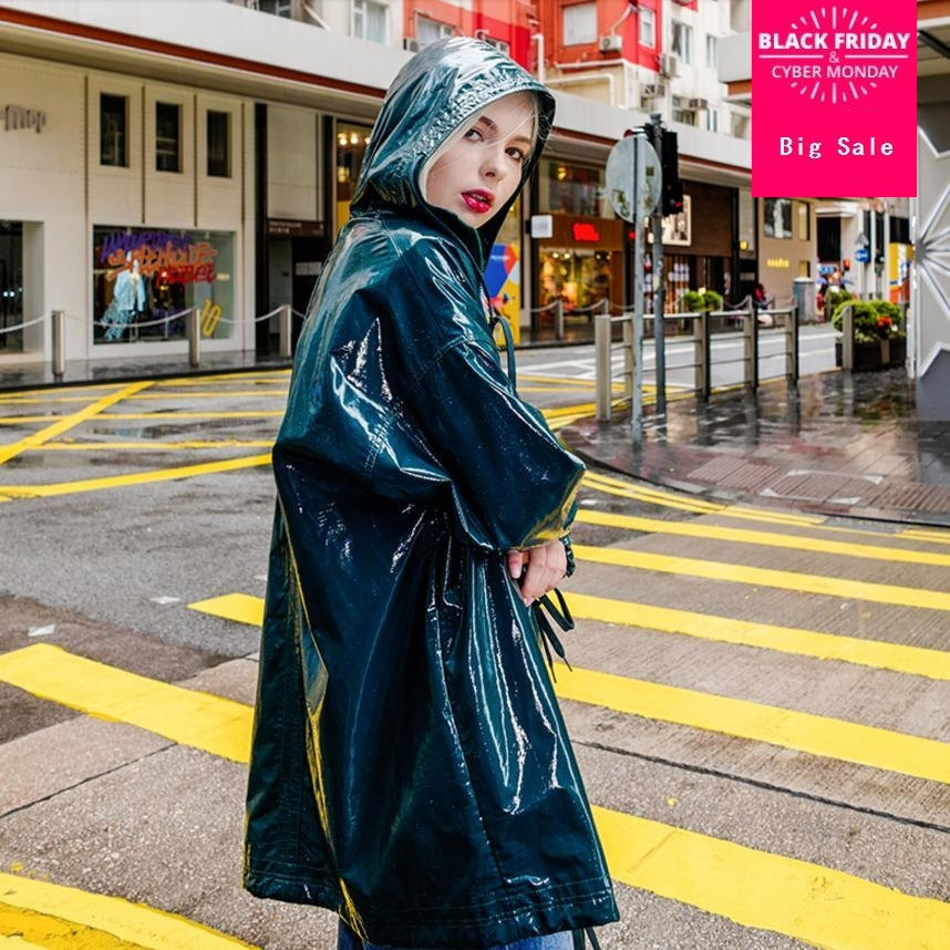 Autumn fashion new women PU windbreaker jacket female long coat patent   leather   dark green casual loose   leather   outwear L1125