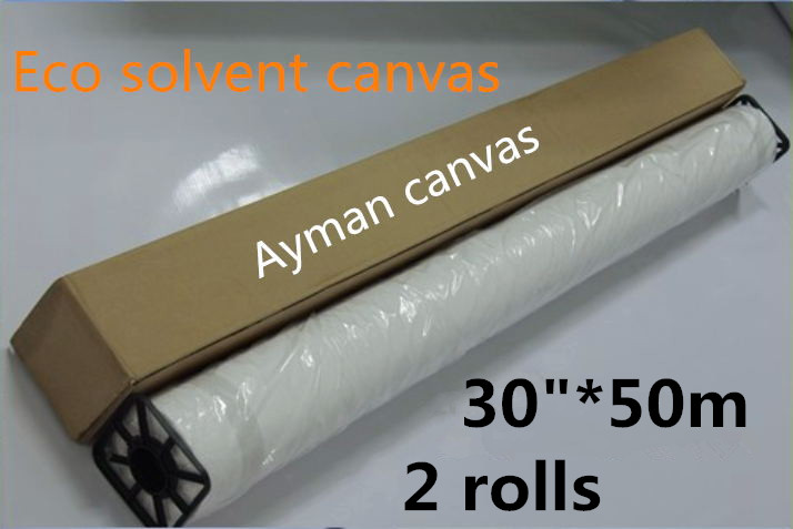"2 Rolls Of 30""*50m Waterproof Eco Solvent Glossy Polyester Canvas Roll"