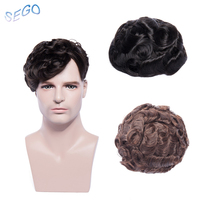 SEGO 8''*10''6 Inch Curly Human Hair Durable Hair pieces Lace Men Toupees Non remy Hair System Pure Color Men Wig Toupee 50g