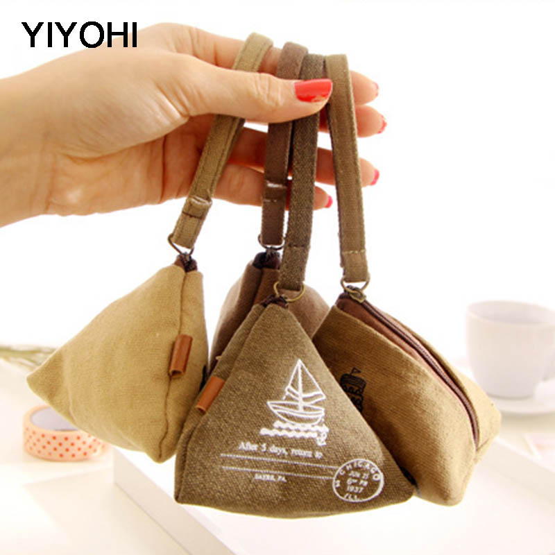 YIYOHI Semici Retro Zipper Canvas Portemonnee Children Coin Bank Purse Holders Girls Mini Bag Women Wallet Pouch Mini Handbag