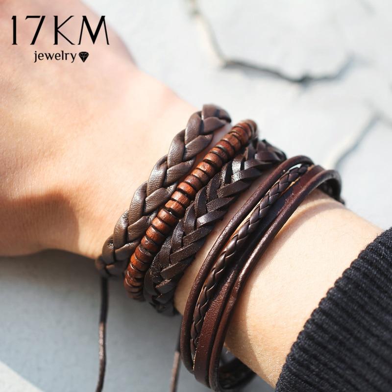 17KM Vintage Multiple Charm Bracelets Set For Men Woman Fashion Wristbands Owl Leaf Leather Bracelet Bangles