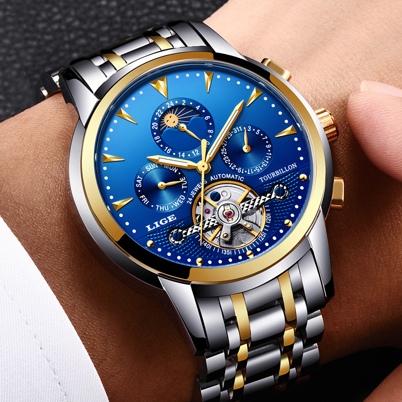 LIGE Mens Watches Top Luxury Brand Business Automatic Mechanical Watch Men Waterproof Sports Full Steel Clock Relogio Masculino mens watches top brand luxury sports watch men waterproof 100m tourbillon mechanical watch man clock relogio masculino army